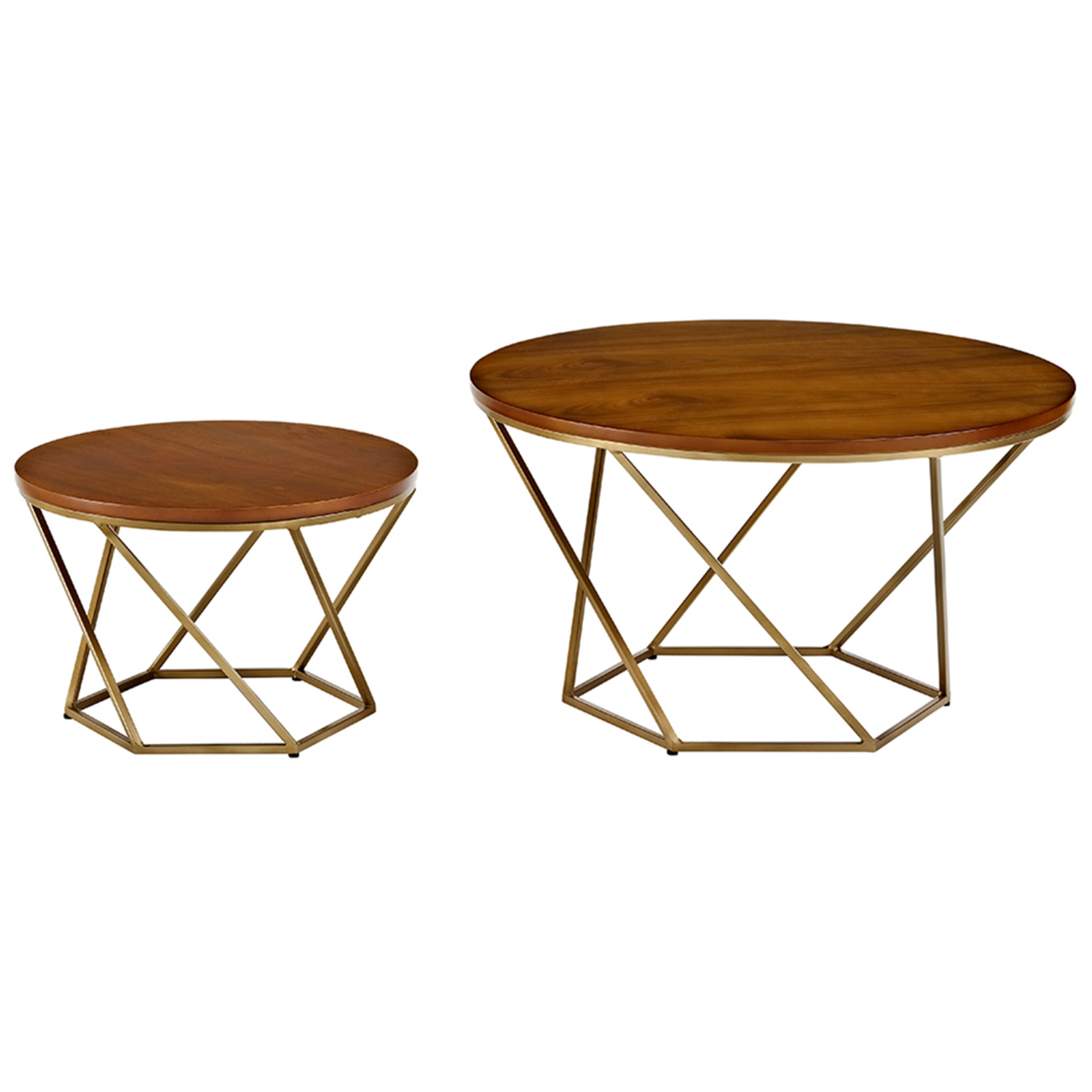 Foster Brown Wood Effect Nest Of 2 Tables With Gold Base