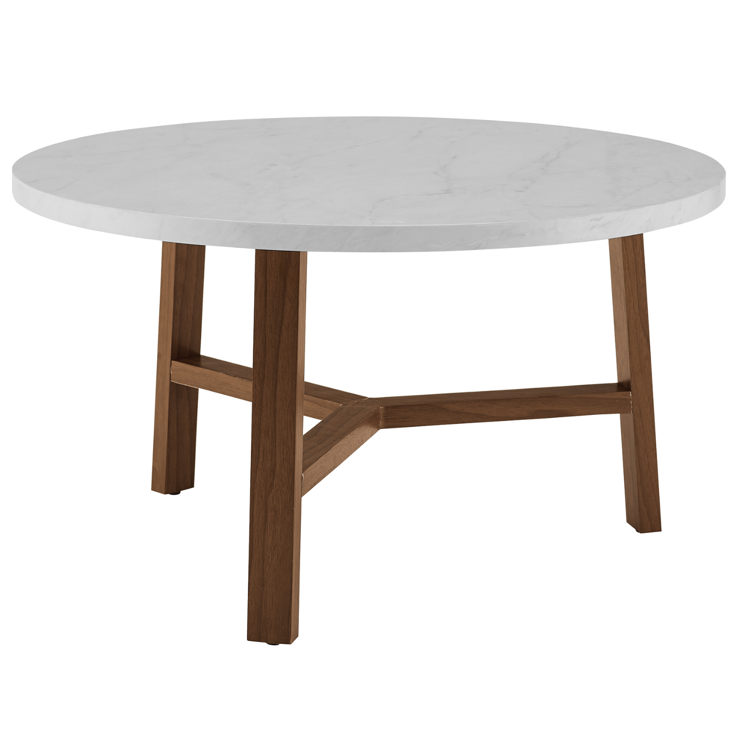 White Round Faux Marble Coffee Table Foster