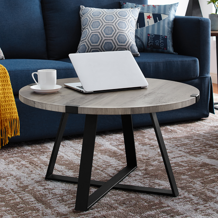 Foster Grey Round Coffee Table with Metal Base