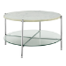 Round White Coffee Table in Faux Marble with Glass Shelf - Foster
