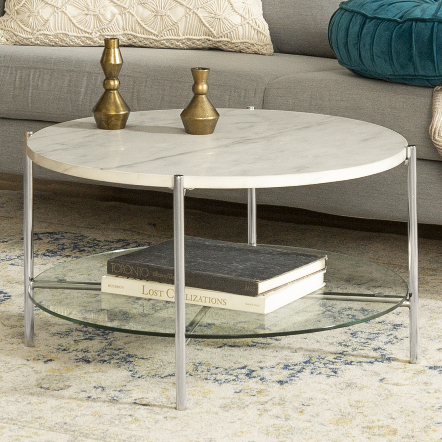 Round White Coffee Table In Faux Marble With Glass Shelf Foster Furniture123
