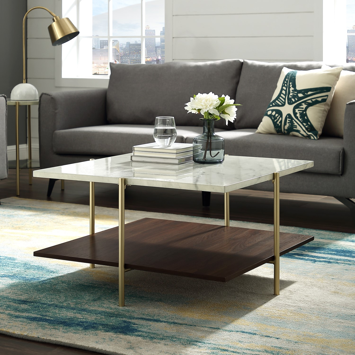 White Marble Square Coffee Table With Gold Legs Foster Furniture123