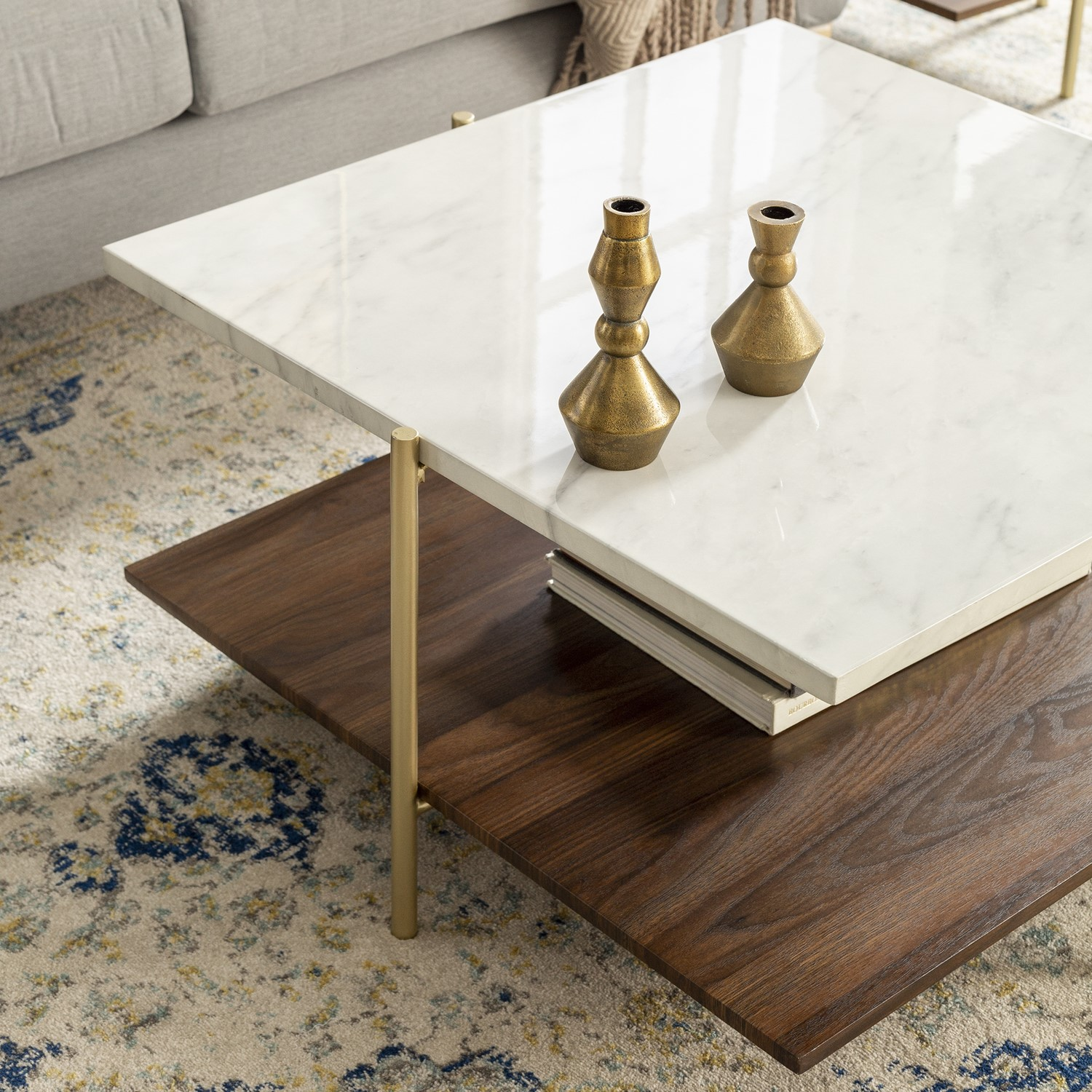 Foster White Marble Square Coffee Table With Gold Legs Furniture123