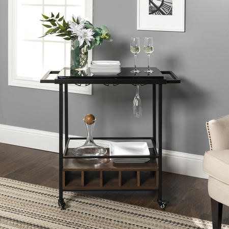 Foster Black Marble Wine Rack with Wheels