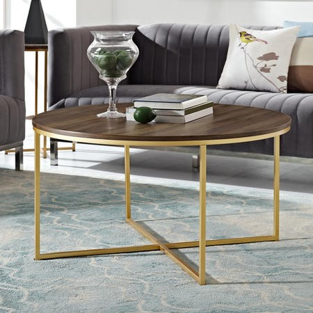 Dark Wooden Coffee Table with Gold Base - Foster