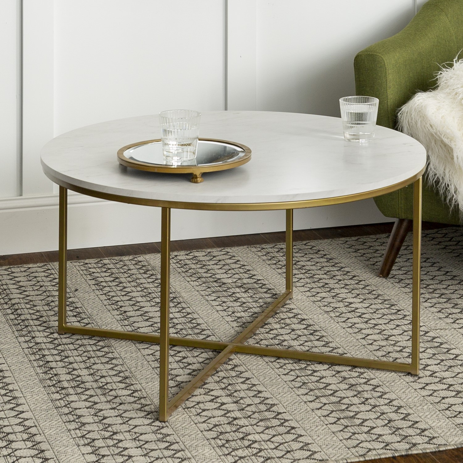 Foster White Faux Marble Coffee Table With Gold Base Furniture123