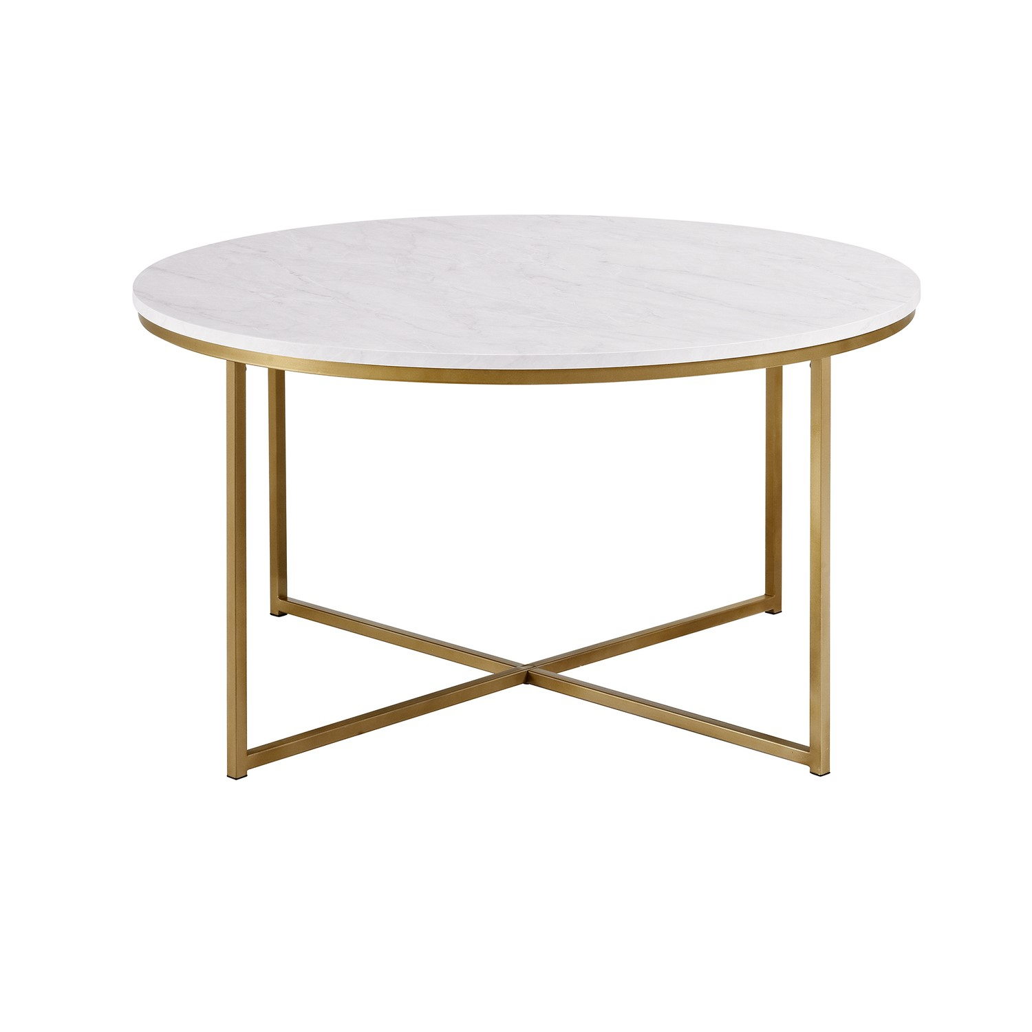Grade A2 Foster White Faux Marble Coffee Table With Gold Base Furniture123