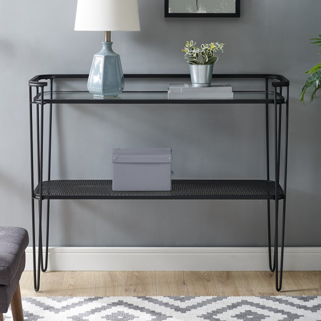 Foster Clear Glass Console Table with Black Mesh Shelf