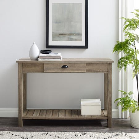 Foster Grey Wooden Effect Console Table with Drawer & Shelf