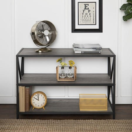 Grey Wooden Effect Bookcase with 3 Shelves - Foster