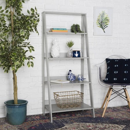 Grey Painted Wooden Effect Bookshelf with 4 Shelves - Foster