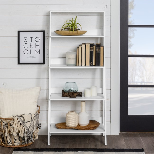 White Painted Wood Effect Bookcase with 4 Shelves - Foster