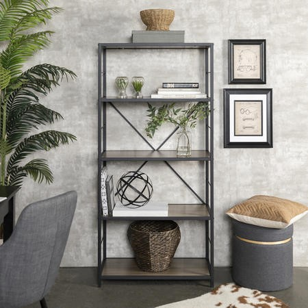 Foster Industrial Wooden Grey Bookcase with Cross Metal Back