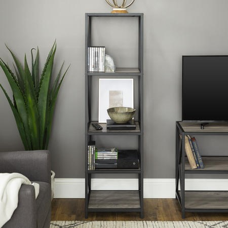Grey Wood Effect Bookcase with Metal Frame - Foster