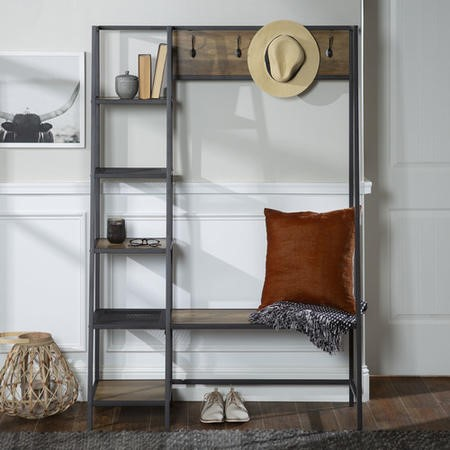 Brown Wood Effect Hallway Unit with Storage - Foster