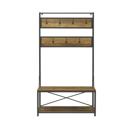 Brown Wood Effect Coat Rack with Storage - Foster