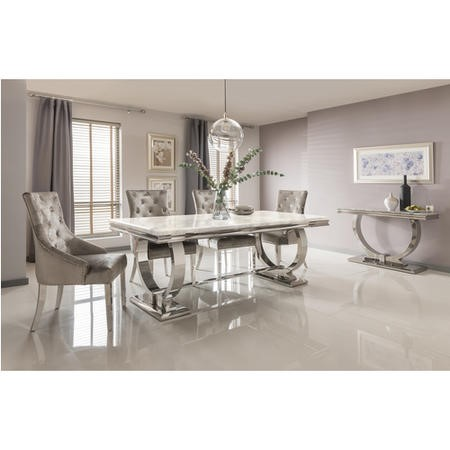 Cream Marble Dining Set with 180cm Table & 4 Champagne Velvet Chairs - Vida Living Arianna