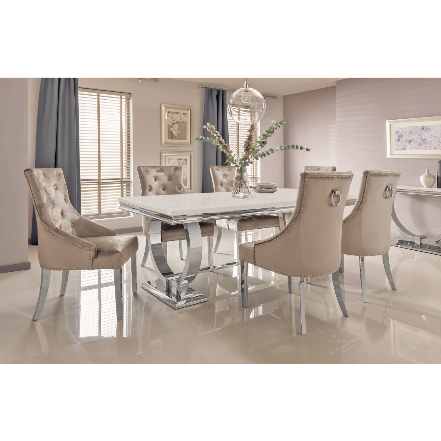 Cream Marble Dining Set With 200cm Table Champagne Velvet Chairs Seats 6 Arianna Furniture123