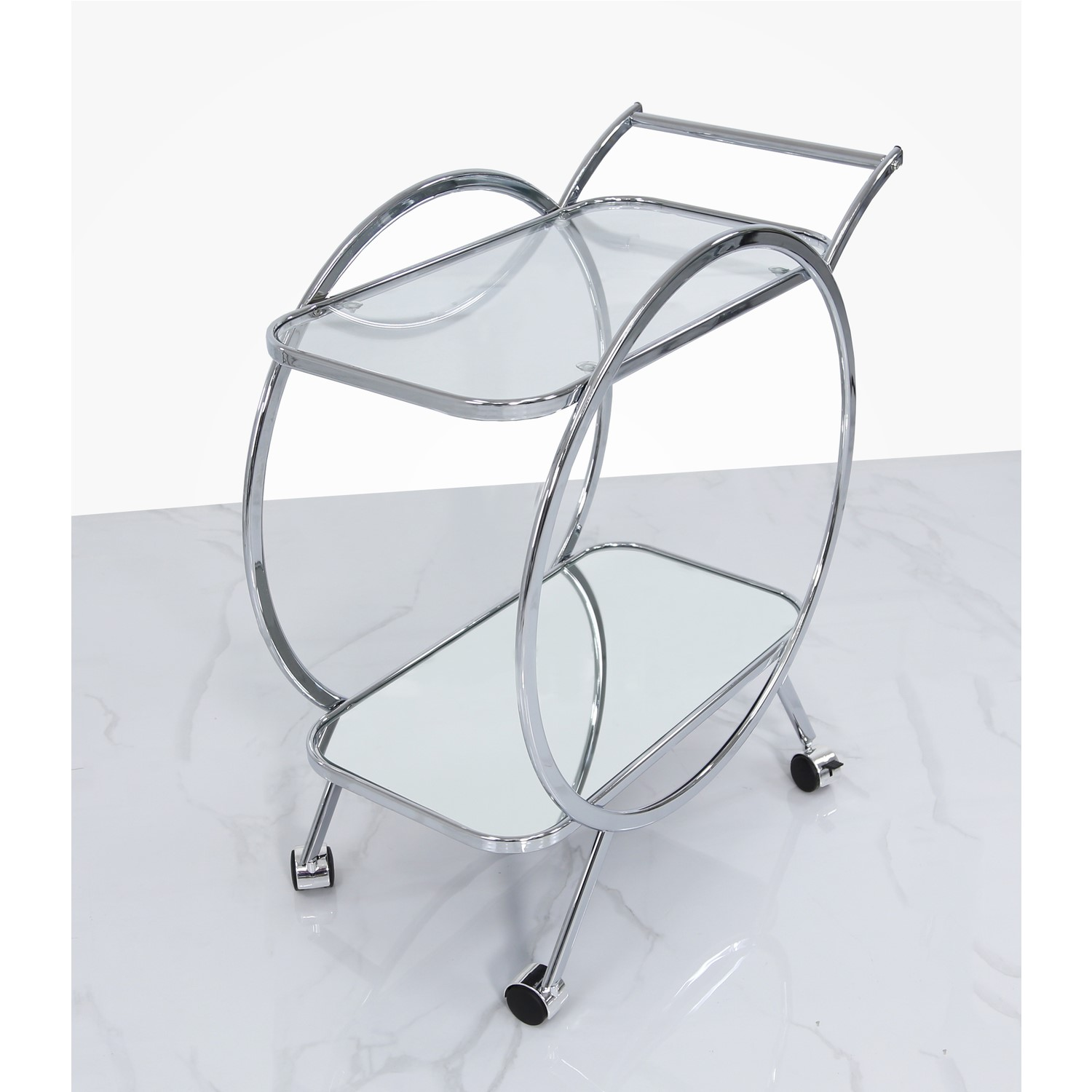 Silver Bar Cart With Chrome Glass Aurora Boutique Furniture123
