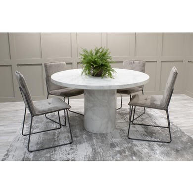 Vida Living Carra Marble Round Dining Set with 4 Grey Soren Chairs