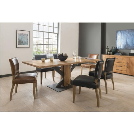 Vida Living Small Lindau Industrial Oak Dining Set with 6 Leather Chairs