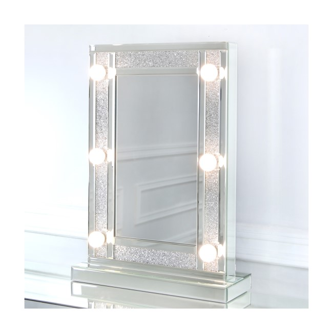 Bella Glitter Hollywood Dressing Table Mirror 6 Lights with Dimmer Switch