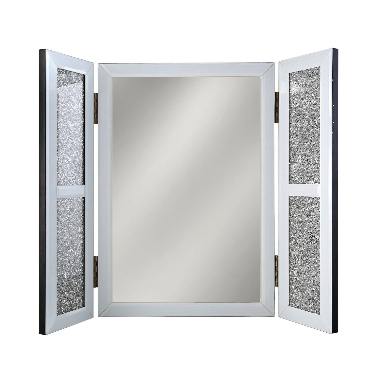 Bella White Glitter Glass Vanity Dressing Table Mirror