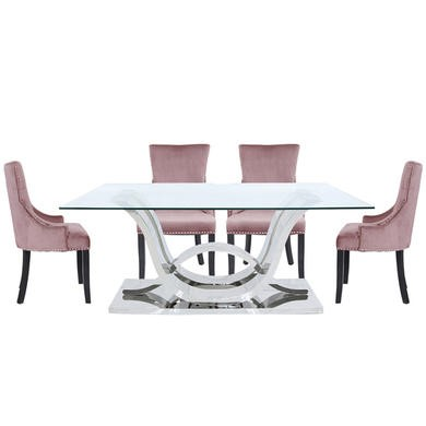 Aurora Boutique Cordelia Glass and Chrome Dining Set with 6 Pink Ring Back Chairs