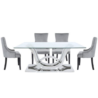 Aurora Boutique Cordelia Glass and Chrome Dining Set with 6 Grey Ring Back Chairs