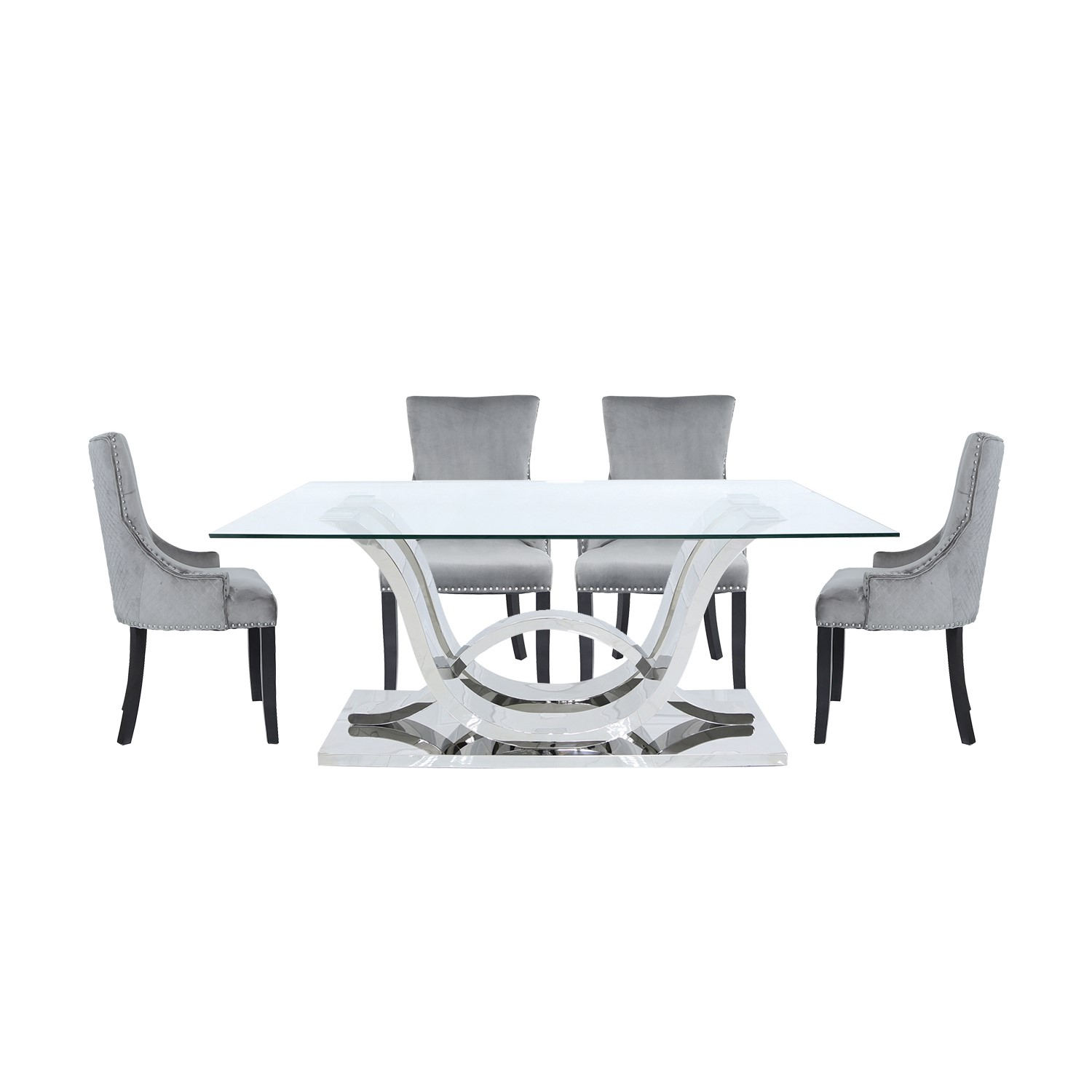 Glass Dining Table & 6 Grey Velvet Chairs - Aurora Boutique