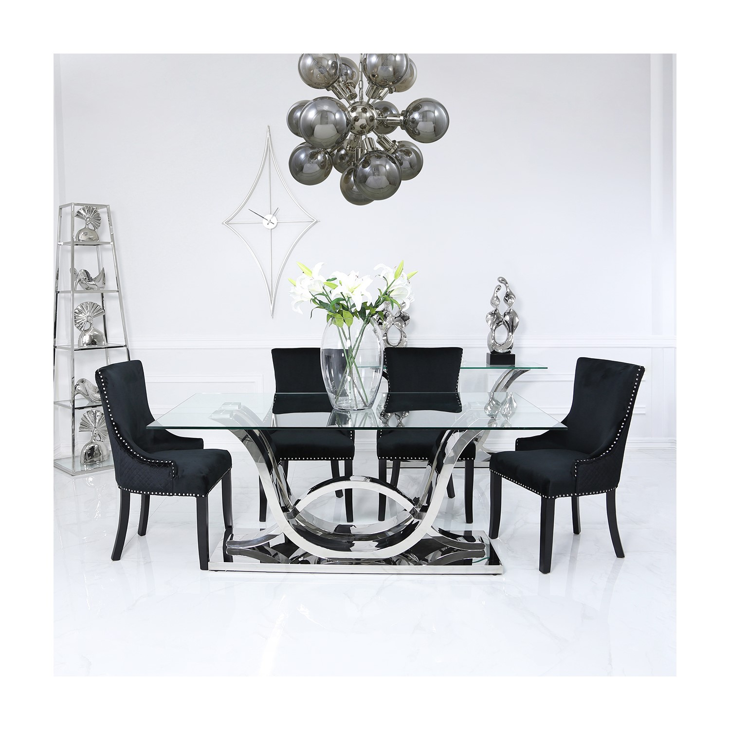 Glass Dining Table & 6 Black Velvet Chairs - Aurora Boutique