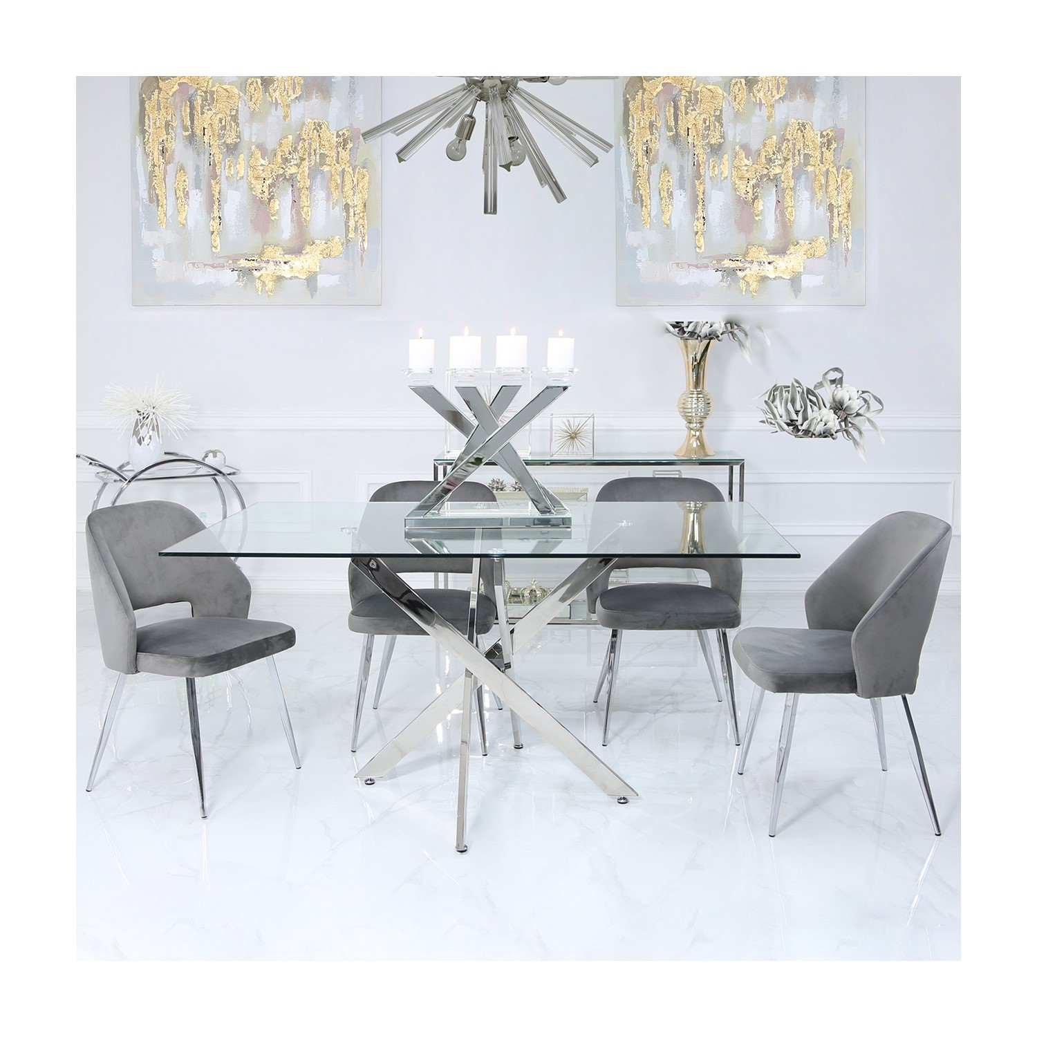 Glass Dining Table 4 Grey Velvet Chairs Aurora Boutique