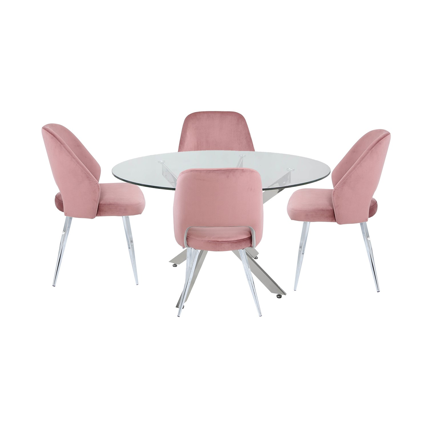 Round Glass Dining Table & 9 Pink Velvet Chairs   Aurora Boutique