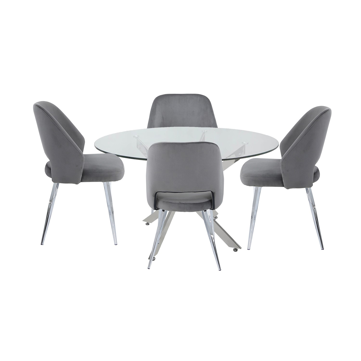 Round Glass Dining Table & 9 Grey Velvet Chairs   Aurora Boutique