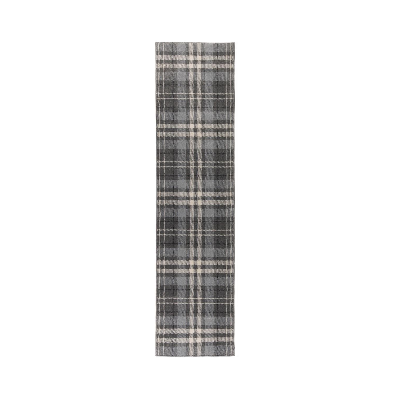 Silver & Grey Check Hallway Runner Rug 60x230cm - Flair Kilb