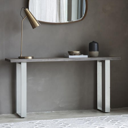 Grey Wood and Metal Console Table - Caspian House