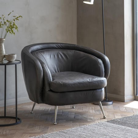 Tub Chair in Black Leather with Metal Legs - Caspian House