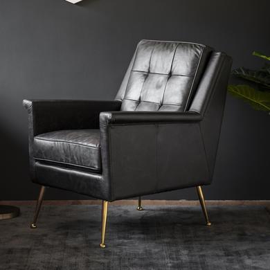Manero Armchair Black Leather