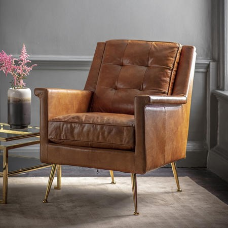 Manero Armchair Brown Leather