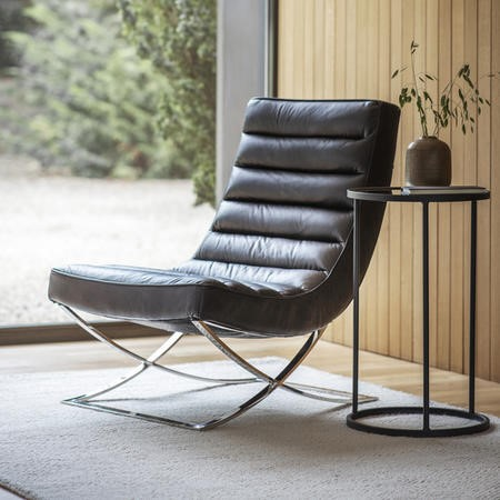 Lounge Chair in Black Leather & Metal Base - Caspian House