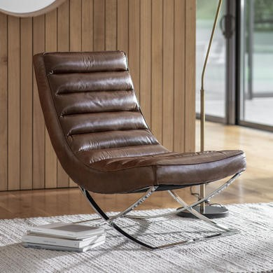 Cassino Lounger Brown Leather