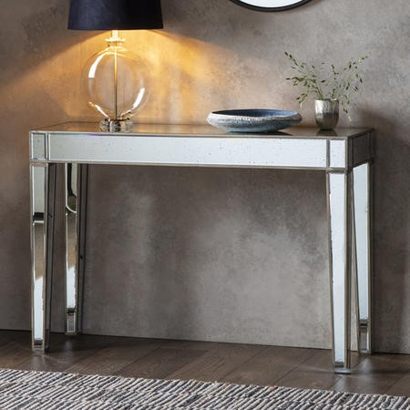 Mirrored Console Table with Gold Edge - Caspian House