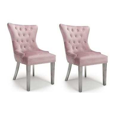 Shankar Pair of Lionhead Ring Back Brushed Velvet Pink Blush Accent Chair with Stainless Steel Legs