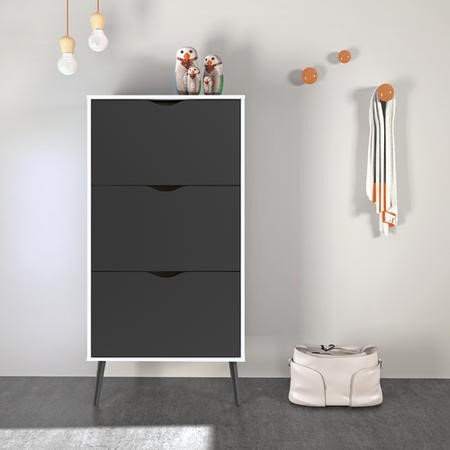 Matte Black & White Shoe Cabinet with 3 Drawers - Oslo