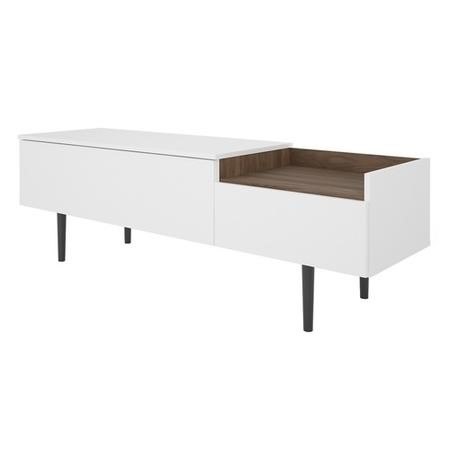 Unit TV Stand with 2 Drawers in White and Walnut