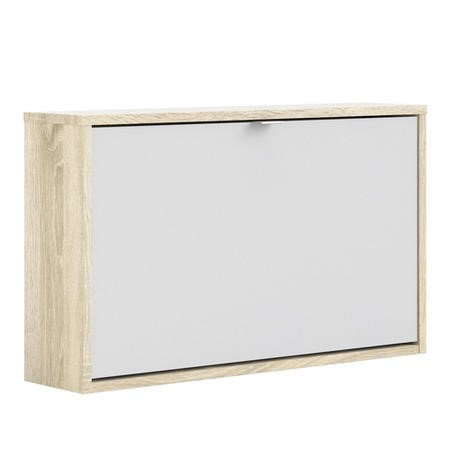 White Slim Shoe Cabinet with Oak Coloured Finish - Wall Hung