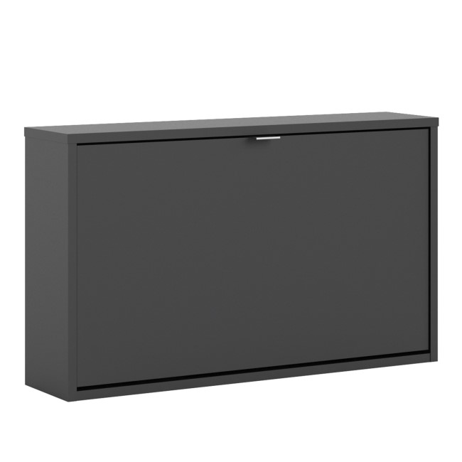 Matte Black Shoe Cabinet with Wall Hung Tilting Door