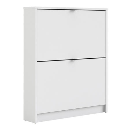 White Shoe Cabinet with 2 Drawers & Tilting Doors