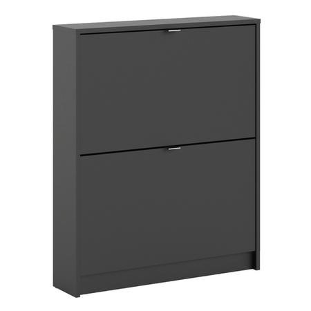 Matte Black Shoe Cabinet with 2 Tilting Doors