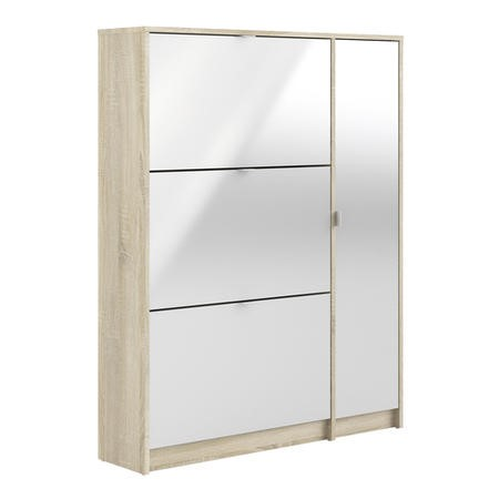Slim White Shoe Storage Cabinet with 3 Drawers & 1 Cupboard